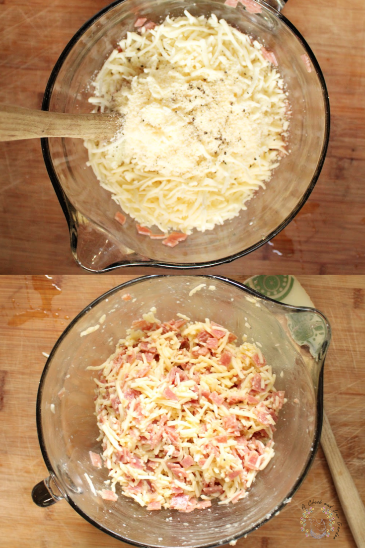salami square ingredients in a glass mixing bowl