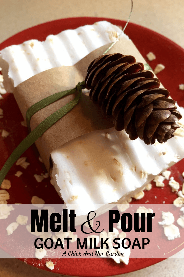 If you're looking to give hand crafted soap for Christmas but aren't ready to jump into cold process soap, this tutorial for Melt and Pour Goat Milk Soap is perfect to get started! Soap Cute and soooo easy!! #meltandpoursoap #soapcrafting #soapDIY #achickandhergarden