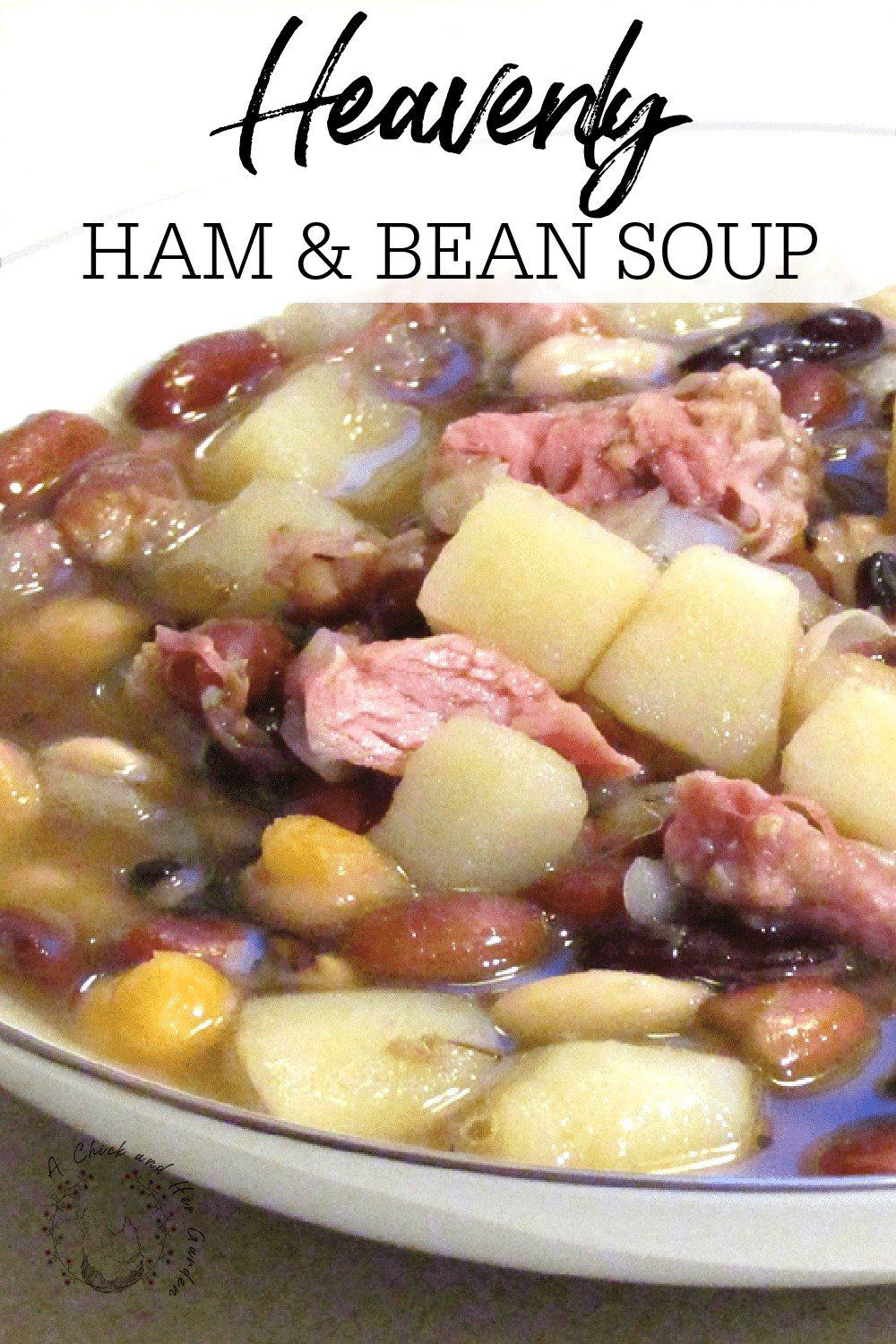 Sometimes I think more about the soup I can make after the holidays with a leftover ham bone than I think about the ham dinner itself!  This ham and bean soup recipe was so easy and perfect for a chilly day! #hamandbeansoup #souprecipes #heartysoups #holidayleftovers #wintersoups #souprecipes #achickandhergarden