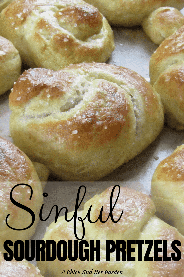 I love finding new ways to use my sourdough starter, and these sourdough pretzels turned out perfect! They were a lot of fun to make with the kids too! #sourdoughrecipes #sourdoughpretzels #homemadepretzels #achickandhergarden