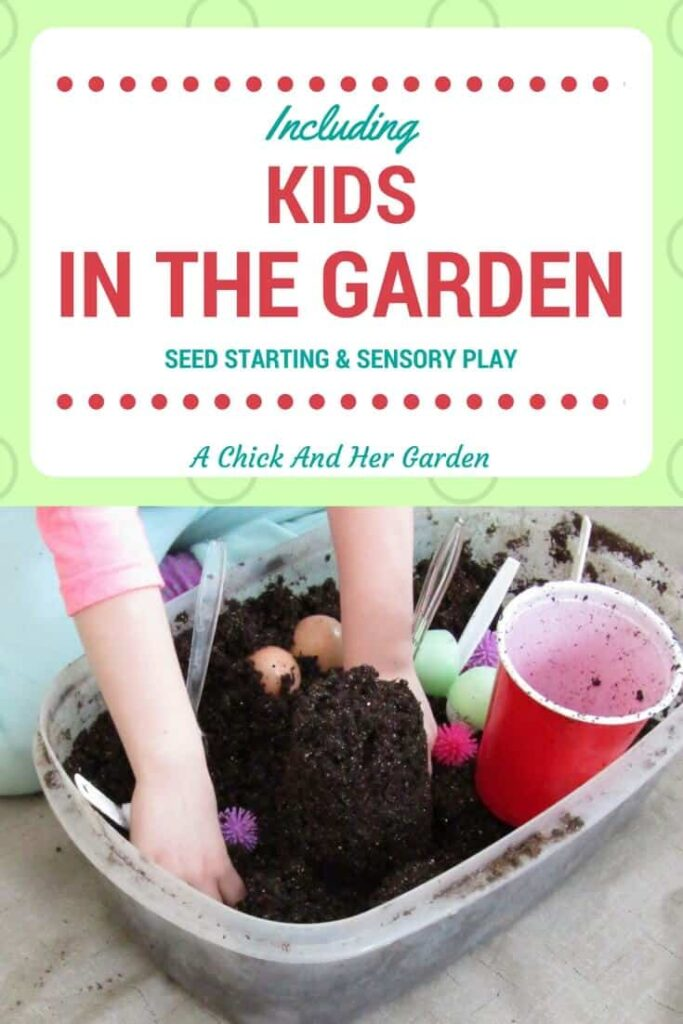 Teaching kids how to start seeds can give them more than knowledge of the garden.  Take the opportunity to give them some sensory time as well!