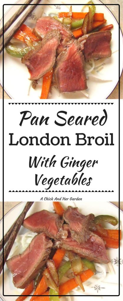 This London Broil recipe is amazing with ginger and veggies over rice noodles!