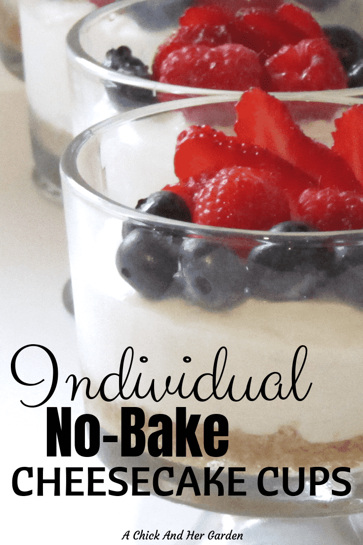 These cheesecake cups were the perfect dessert for our small family dinner! Everyone loved them, and the best part is how easy they are! #nobakedesserts #cheesecakerecipes #dessertrecipes #achickandhergarden