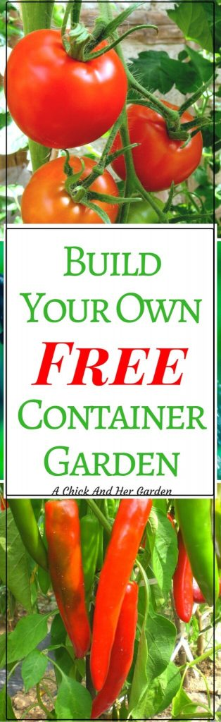 Sometimes we don't have the option of our dream garden. Whether it's lack of land, or poor soil, it doesn't mean you can't grow your own fresh produce! Check out how to build a free container garden! #gardening #containergarden #frugalliving #selfsufficiency #achickandhergarden