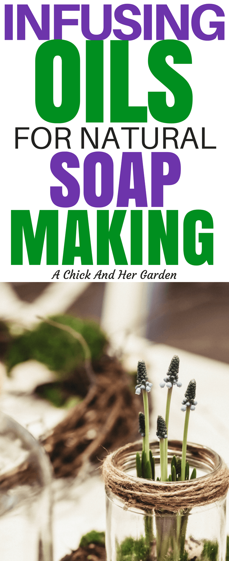 One of my favorite parts of natural soap making is including different herbs and plants for their healing properties! This is a great tutorial on how to infuse oils for natural soap making! #soapmaking #DIY #herbs #naturalhealing #naturalhealth #homesteading #selfsufficiency #achickandhergarden