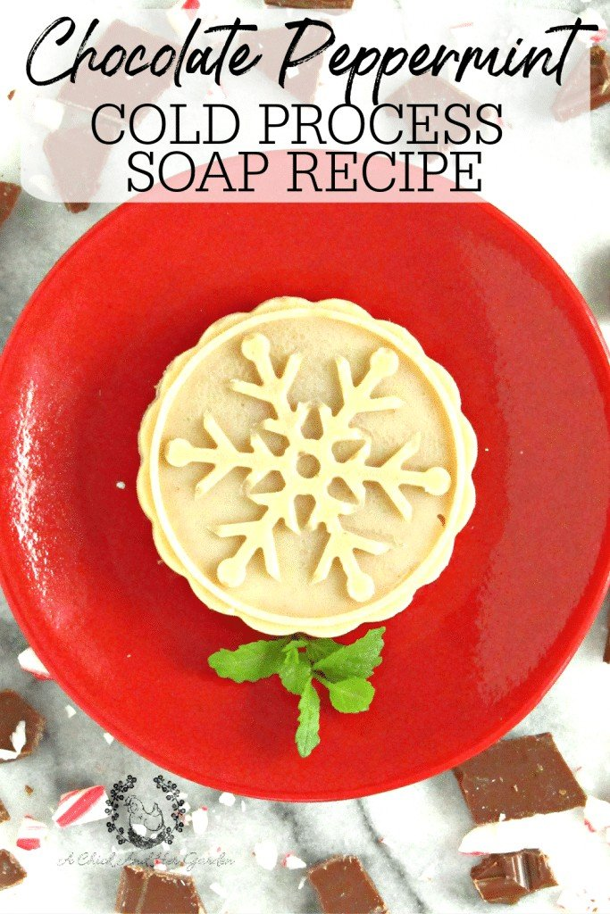 This cold process soap turned out perfect as a holiday gift to give to my family! The chocolate and peppermint smelled so good! Some people had to be told that it was soap, and not a cookie! #coldprocesssoap #christmassoap #handmadechristmasgift #diysoap #stockingstuffers #soaprecipes #achickandhergarden
