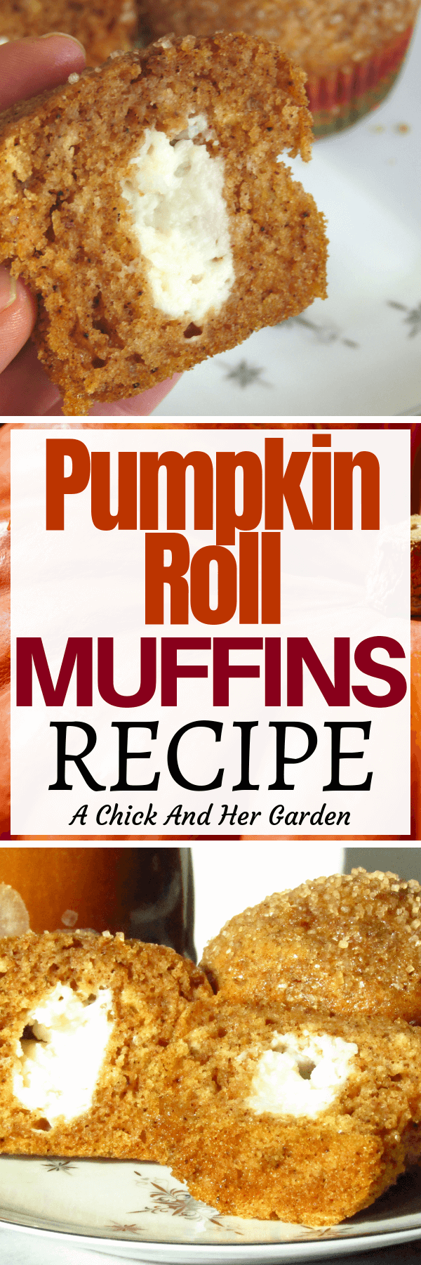Pumpkin Roll has to be one of my favorite fall desserts, but now I can have it for breakfast! This muffin recipe turned out perfect and is a favorite for breakfast during the fall months! #muffins #pumpkinrecipes #breakfastrecipes #fallrecipes #baking #achickandhergarden