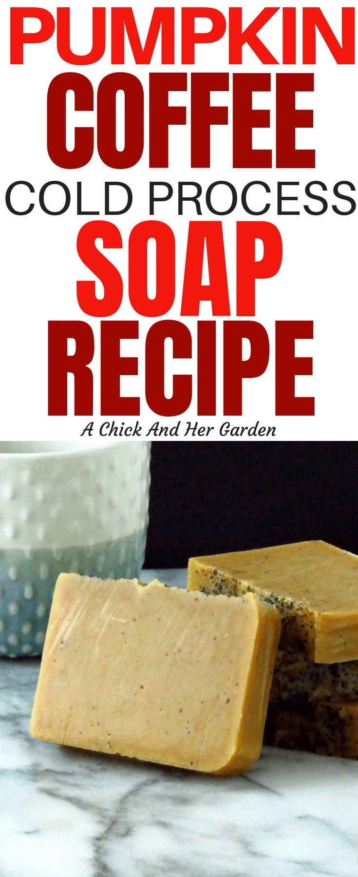 Finally! It's pumpkin spice season! This pumpkin coffee soap recipe was perfect for the fall!! #fallsoap #soaprecipes #coldprocesssoap #achickandhergarden