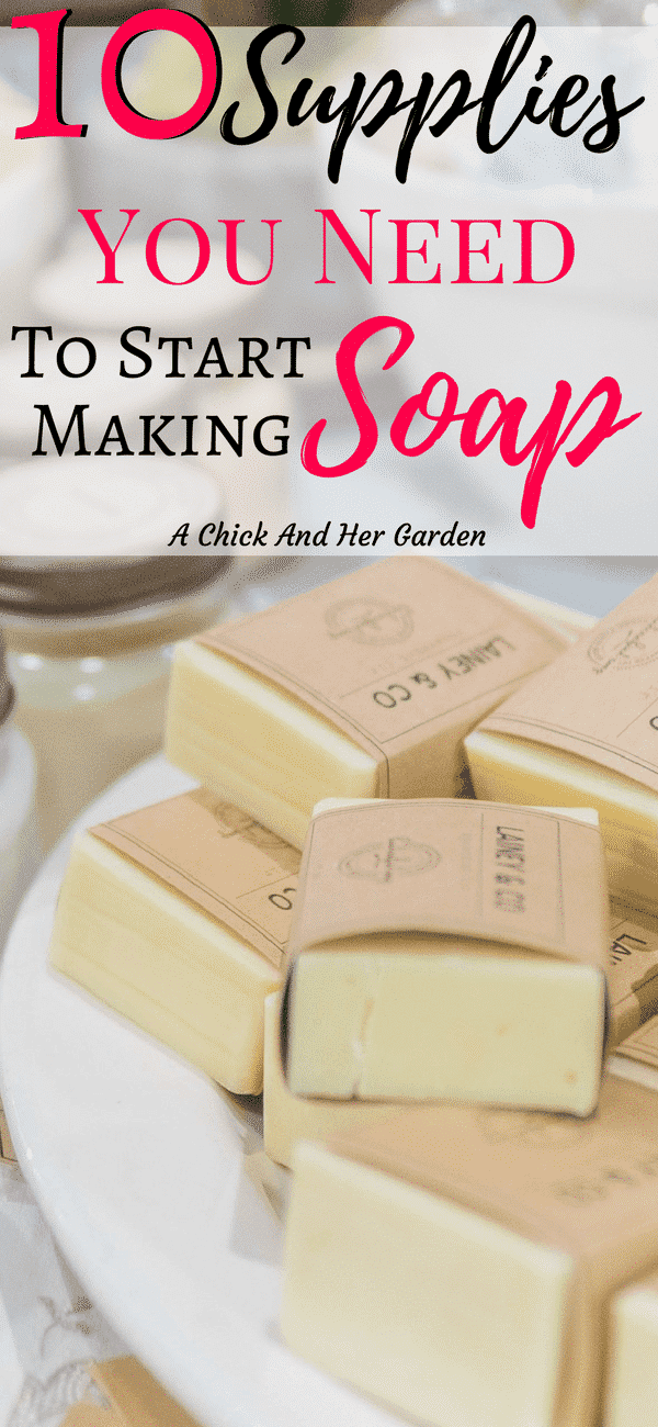 There were a lot less supplies than I thought to get started making soap! These are the absolute necessities to get started! #soapmaking #cpsoap #coldprocess #soapmaingforbeginners #achickandhergarden
