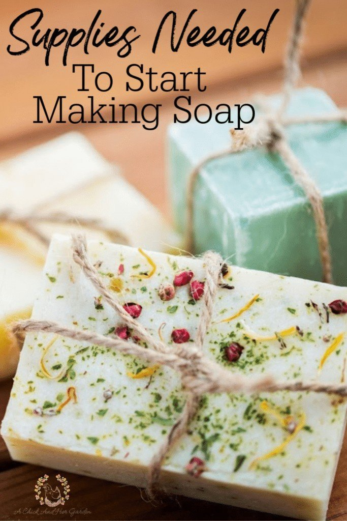 I was really overwhelmed before I started making soap, trying to figure out everything that I would need! This is the perfect list of supplies needed to get you started with making cold process soap! #soapmaking #DIY #homemadesoap #coldprocesssoap #soapmakingforbeginners #achickandhergarden