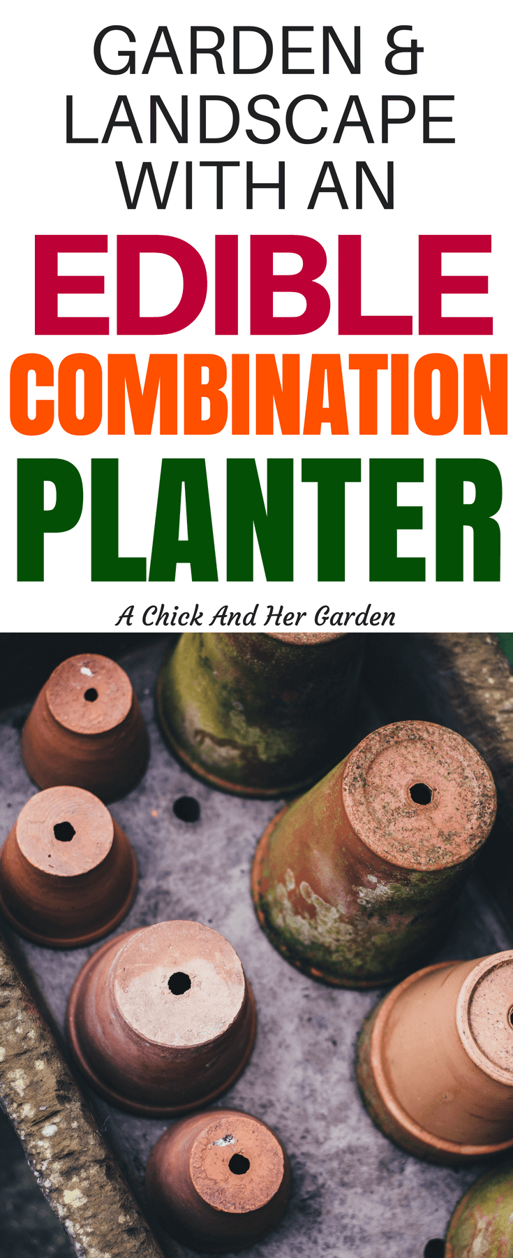 Make your small space beautiful and grow organic produce with an edible combination planter! This is the ultimate guide to small space gardening! #homesteadanywhere #growfoodnotlawns #ediblelandscape #containergarden #achickandhergarden