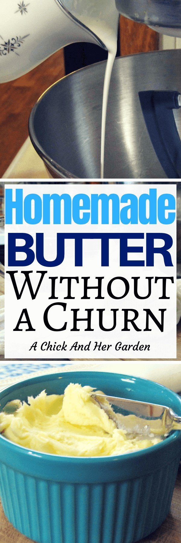 When you're trying to find ways to cut out processed foods, homemade butter is one of the easiest steps to take! This butter is so creamy and there was almost no work involved! Bonus you get buttermilk when you're done! #cleaneating #fromscratchcooking #homemadefood #butter #achickandhergarden