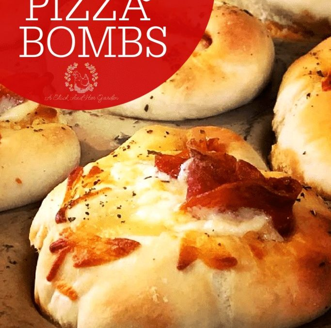 If you love sourdough pizza, these Sourdough Pizza Bombs are the best handheld snack! I've brought them to parties and they are gone before everyone shows up! #sourdoughpizza #sourdoughrecipes #homesteadbaking #sourdoughbaking #fromscratchrecipes #achickandhergarden