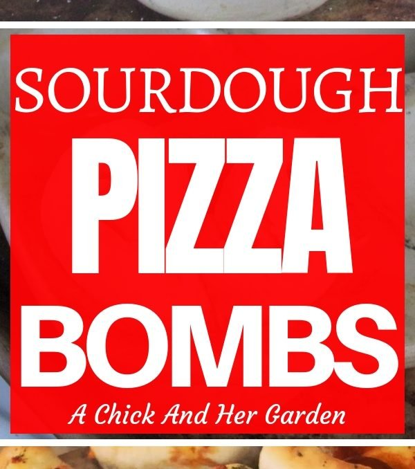 These sourdough pizza bombs are my new favorite snack! You have to try them! #sourdoughrecipes #pizzasnacks #appetizers #pizzarecipes #achickandhergarden