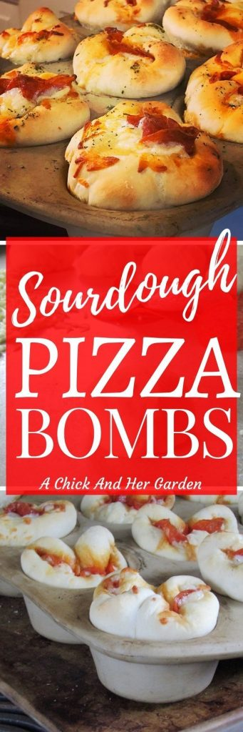 I love sourdough pizza and these sourdough pizza bombs were the perfect snack to bring to parties! #sourdoughrecipes #sourdoughpizza #appetizerrecipes #achickandhergarden
