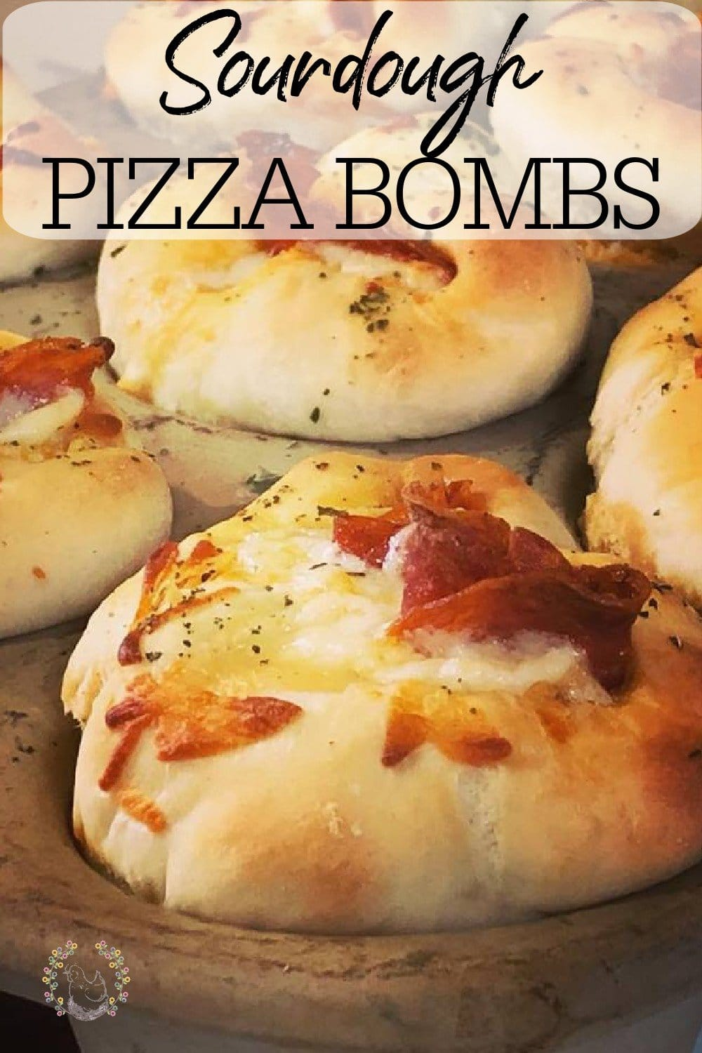 Sourdough Pizza Bombs are the best handheld pizza snack! If you've been looking for the best pepperoni roll recipe, look no further! You've found it! I especially love that you can fill these pizza rolls with your favorite pizza toppings! #sourdoughrecipes #pizzarolls #pepperonirolls #sourdoughpizza #fromscratchcooking #homemaderecipes #achickandhergarden