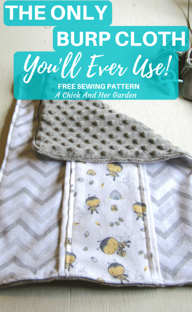 This burp cloth is amazing!! They are so soft for baby, thick, and last forever!! I'm so glad I found this burp cloth sewing pattern! #babysewingproject #diybaby #burpcloth #sewingpattern #minkyburpcloth #achickandhergarden
