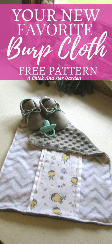 I'm in love with this burp cloth! The step by step sewing pattern is super helpful too! I don't think I'll ever go back to my baby's old burp cloths! #burpclothsewingpattern #burpcloth #minkyburpcloth #sewingtutorial #babysewingprojects #diybaby #achickandhergarden