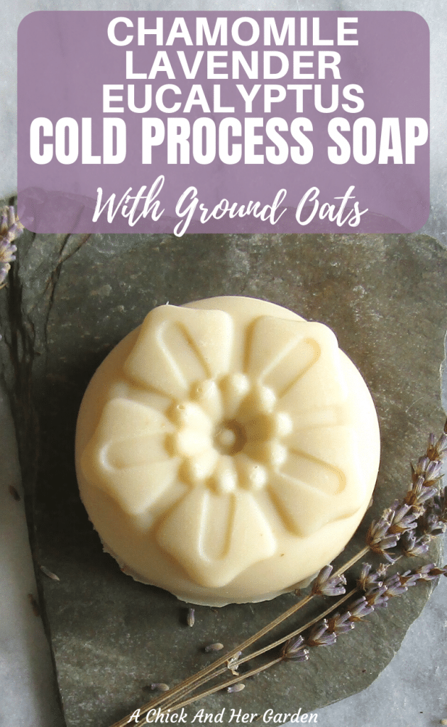 This cold process soap was the perfect balance of refreshing eucalyptus and soothing chamomile and lavender! The suds turned out so creamy too! #coldprocesssoap #soapmaking #homemadesoap #artisansoap #lavendersoap #soaprecipe #makeyourownsoap #achickandhergarden