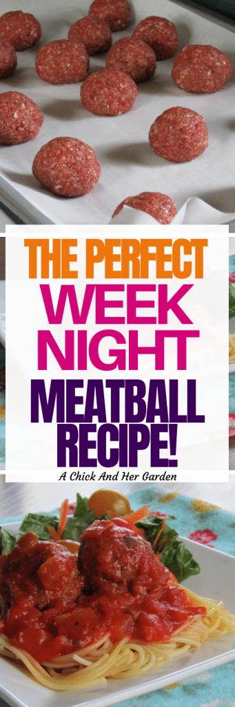This meatball recipe is one of our favorite week night meals! I was shocked that they only took 30 minutes! #fromscratchrecipes #fromscratchcooking #30minutemeals #weeknightmeals #meatballrecipe #achickandhergarden