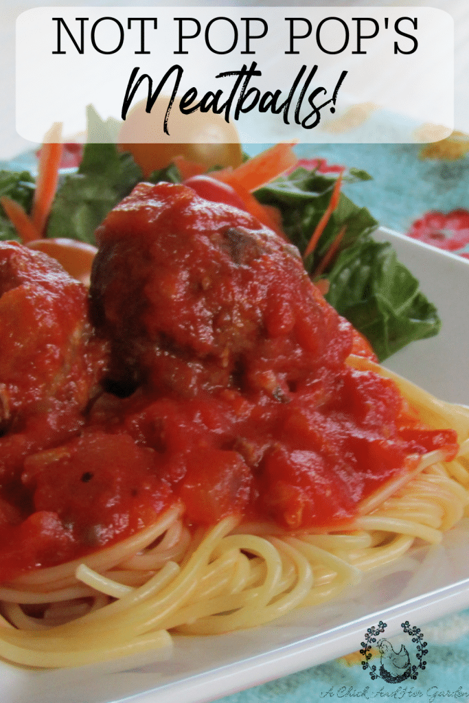 If you love the taste of slow simmered meatballs but don't have the time, this is the perfect recipe! All day simmered taste in 30 minutes! They may not be Pop Pop's meatball's but they're pretty close! #meatballrecipe #meatballs #weeknightdinner #30minutemeals #dinnerrecipes #achickandhergarden